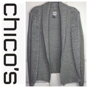 Chico's 1 Silver Gray Thick Open Cardigan Sweater